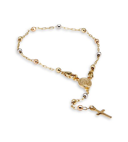 14k Yellow White Rose Gold Cross Cable Rosary Bracelet