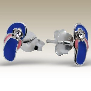 CUTE Blue and Pink Flip Flop Sterling Silver Childrens Earrings Post/stud