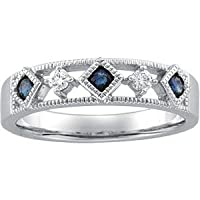 14K White Gold Sapphire and Diamond Band Ring
