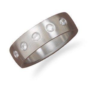 Stainless Steel Fashion Ring with CZs (7)