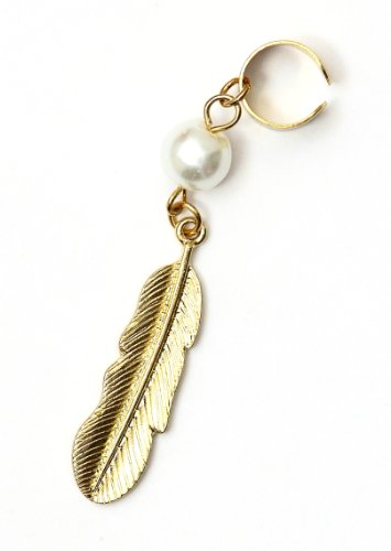 Metal Feather Ear Cuff Wrap Dangling Faux Pearl Gold Tone Earring Fashion Jewelry