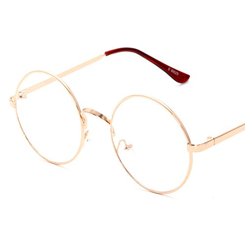 Lovef Large Oversized Metal Frame Clear Lens Round Circle Vintage Eye Glasses 5.4*2inch (Rose Gold) (Round Vintage Glasses compare prices)