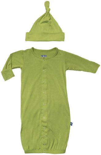 Kickee Pants Baby Boys' Layette Gown & Knot Hat (Baby) - Meadow - Green - 12-18 Months front-844179