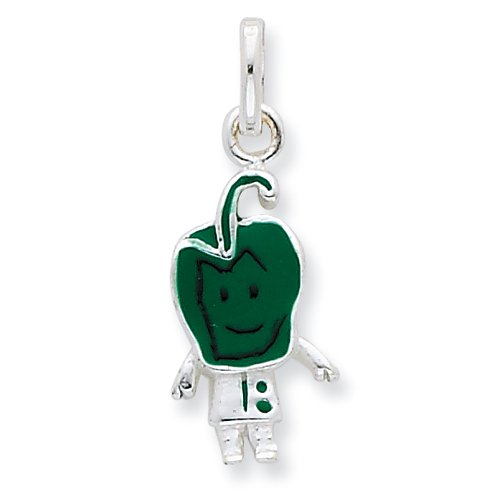 Sterling Silver Enameled Green Pepper Person Charm