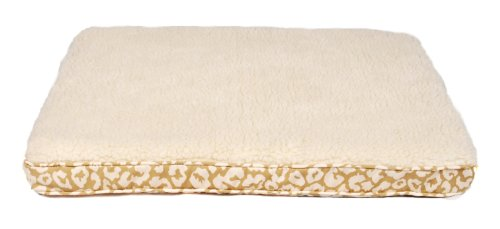 AlphaPooch Lounger Orthopedic Rectangular Dog Bed – Tan Jaguar Fabric with Fleece, Large