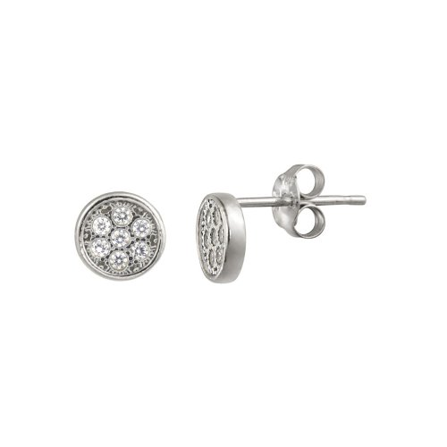 Sterling Silver Micro Pave Cubic Zirconia Round Post Earrings
