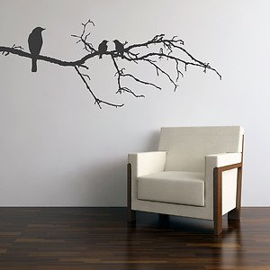 Parkins interiors black birds on branch wall sticker for Black tree mural