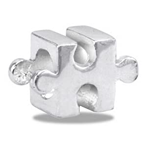 Autism Awareness Puzzle European/Memory Charm Double Sterling Layered Bead - Fits Pandora Bracelets