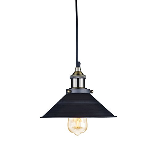 Yobo Lighting Industrial Edison Hanging Lamp Vintage Mini 1-Light Fixture, Classic Metal Pendant Light, Aged Steel