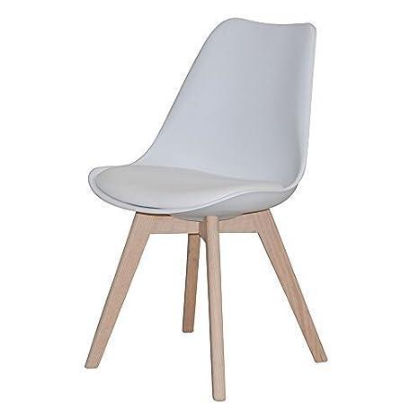 Conjunto de 2 sillas de comedor JERRY, estructura de madera de roble maciza, asiento blanco