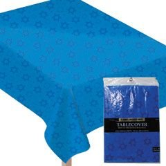 "Amscan Deferential Vinyl Table Cover Hanukkah Party Supplies, 52 x 90"", Blue"