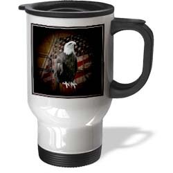 tm_11602 Beverly Turner Photography - Bald Eagle with American Flag - Travel Mug купить