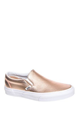 Classic Metallic Leather Slip-On Sneaker