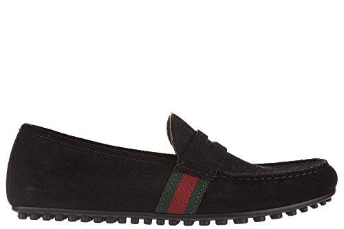 Gucci mocassini uomo in camoscio queen gros grain driver web nero EU 40 407411 CMAK0 1060