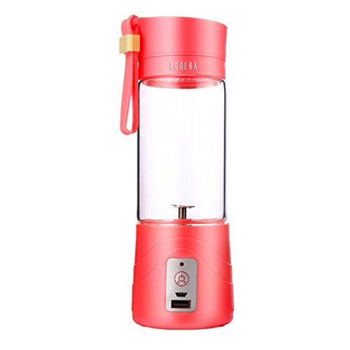Juice Extractor, EgoEra Portable, Rechargeable Battery and USB Charging 380ml Juicer Cup With 2000mAh Power Bank, Red (Power Juicer Red compare prices)