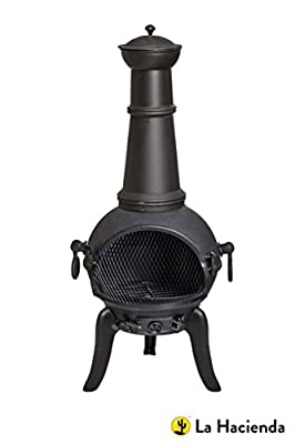 Free Cover Black Cast Iron Steel Large Chiminea Patio Heater Wood Burner from La Hacienda Ltd