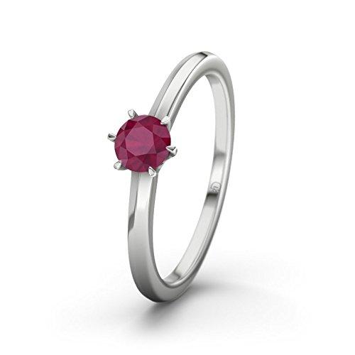 21DIAMONDS San Antonio Ruby Brilliant Cut Women's Ring-Silver Engagement Ring