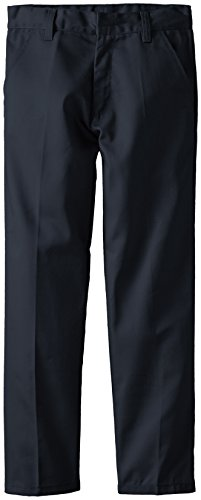 (3606) Genuine School Uniforms Boys Flat Front Twill Pants (Sizes 4-16) In Navy Size: 10 front-228699