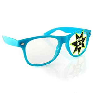 Vintage Wayfarer Style Sunglasses - Clear Lenses Blue Glow in the Dark