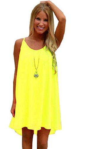 Womens Spaghetti Strap Back Howllow Out Summer Chiffon Beach Short Dress Yellow