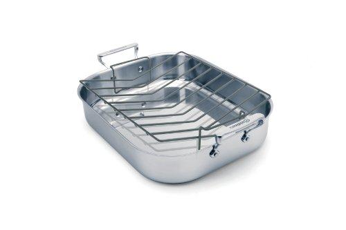 Cuisinox POT-342RLG Elite Open Roaster Pan with Rack, 42x35x8.5Cm, Stainless Steel