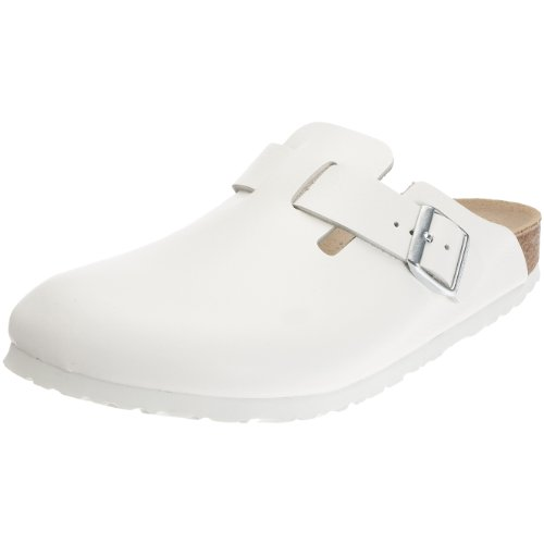Birkenstock Boston Smooth Leather, Style-No. 60433, Unisex Clogs, White, EU 41, slim width