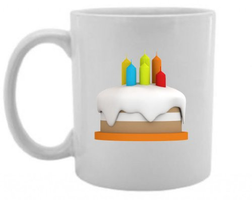 Mashed Mugs - Cake With Candles - Jumbo Coffee Cup/Tea Mug (White)