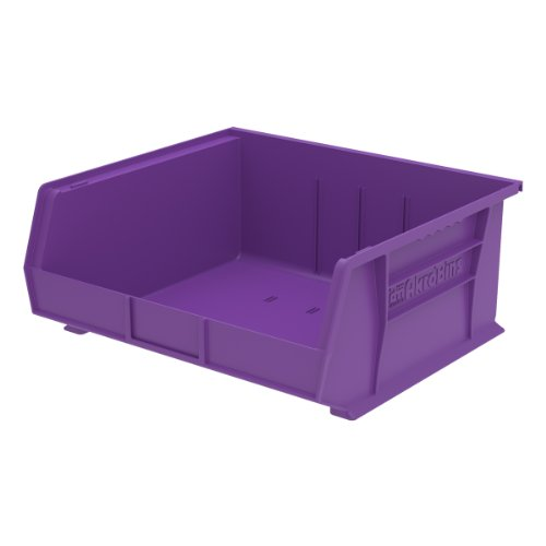 Akro-Mils 30250 15-Inch by 16-Inch by 7-Inch Plastic Storage Stacking Hanging Akro Bin, Purple, 6-Pack