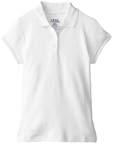 Izod Big Girls' Short Sleeve Uniform Polo, White, Medium