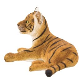 Mojo Fun 387009 Tiger Cub Lying - Realistic International Wildlife Toy Replica