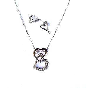 Crystal Diamante Twin Heart Love Necklace Earring Silver Chain Bridesmaid Bridal Dress Jewellery Set