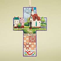 Jim Shore Town and Church Cross Hanging Ornament