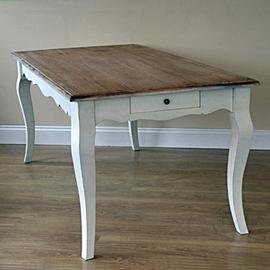 Dining Table Loire Ivory White with Wooden Top Shabby Chic French Style