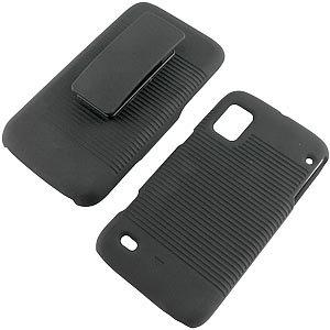 Rubberized Hard Shell Case w/ Holster for ZTE Warp N860, Black
