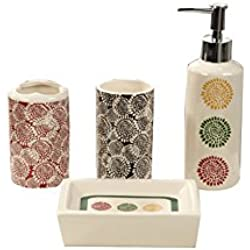 Indecor Home CS11-1210-IV 4 Piece Ceramic Burst of Fall Bath Set