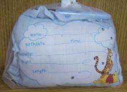 Disney's Winnie the Pooh Birth Announcement Door Pillow w/ Pen, Blue