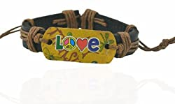 90210 CALIFORNIA Enjoy, Party, Love - Peace Out Tan Brown Faux Leather Bracelet
