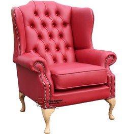 Chesterfield Mallory ala plana Natural pies de altura ala trasera Silla fabricado en Reino Unido llama cuero rojo