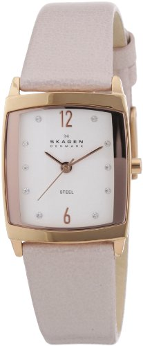 Skagen Designs Ladies Quartz Watch with White Dial Analogue Display and Silver Leather Strap 691SRLT