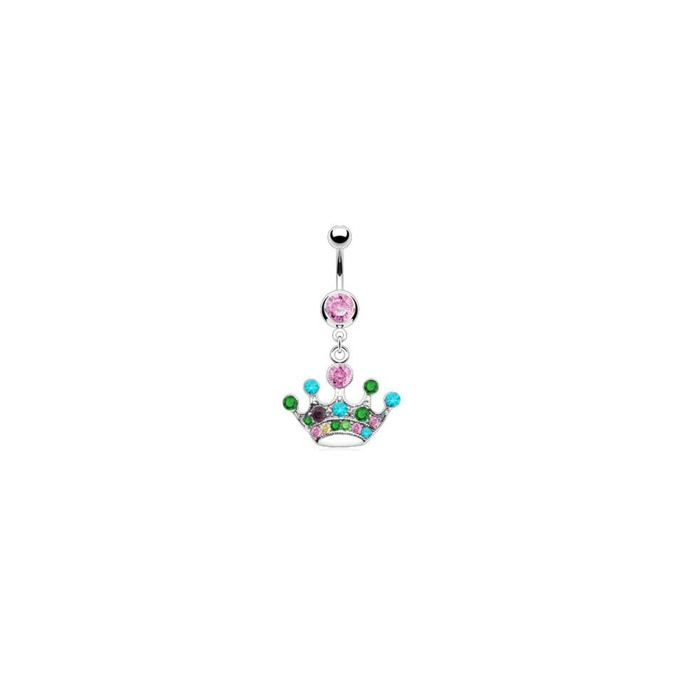 Pink jeweled belly ring with dangling multi color crown
