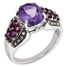 Genuine IceCarats Designer Jewelry Gift Sterling Silver Amethyst, Rhodolite Garnet & Diamond Ring Size 5.00