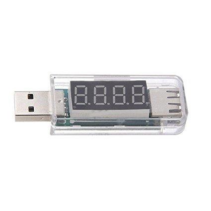 Hakkain® USB Voltmètre Ampèremètre Testeur Voltage Courant Auto pour Téléphone Mobile - Blanc