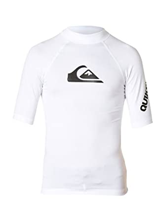Quiksilver Kids All Time Short Sleeve Rashguard for Boys (4-16 Years) White, 4