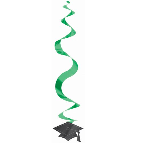 Congrats Grad Green Graduation Hanging Swirl Decorations