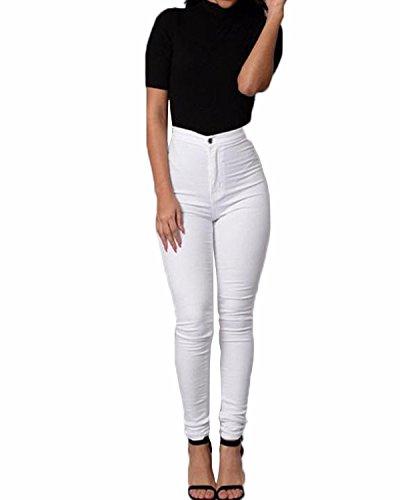 ZANZEA Donne Alta Vita Skinny Aderenti Party Club Elastico Disinvolta Slim Fit Pantaloni Bianco IT 36/ASIAN M