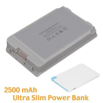 BattPit Notebook Akku für Apple iBook Opaque White 16 VRAM (4400mah / 48wh) mit Ultra-Kompakt 1A Ausgang Externer Akku Tragbares USB-Ladegerät 2500mAh mit Lightning für iPhone 5/5s/5c/6/6 Plus, iPad Air / Mini, Micro USB für Android smartphones.