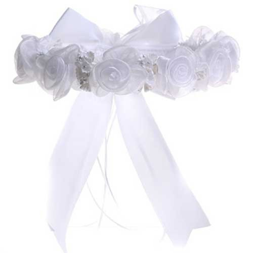 Kid Collection Girls Angelic Organza Rose Flower Girl Halo White (Kid Cr52) front-915639