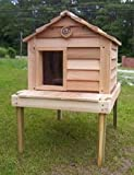 20 Inch Cedar Cat House with Platform : Size SMALL CEDAR WITH PLATFORM - INSULATED