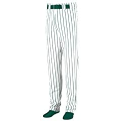 Striped Open Bottom Baseball Softball Pants - LARGE - GREEN & WHITE by Augusta