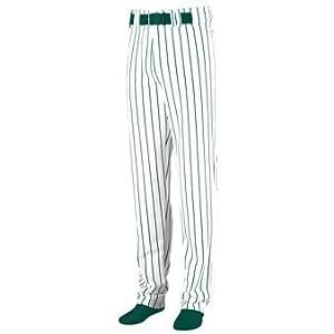 Striped Open Bottom Baseball Softball Pants - 2XL - GREEN & WHITE by Augusta